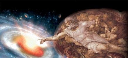 """Releitura da obra """"A Criação de Adão"""" de Michelangelo, enfatizado a ideia do Big Bang e a criação do Universo."""